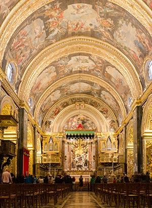 Valletta; mooie kathedraal op Malta