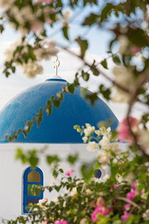 vakantie Santorini, blauwe koepels