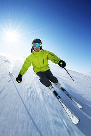 Comeback van de wintersport, skiër