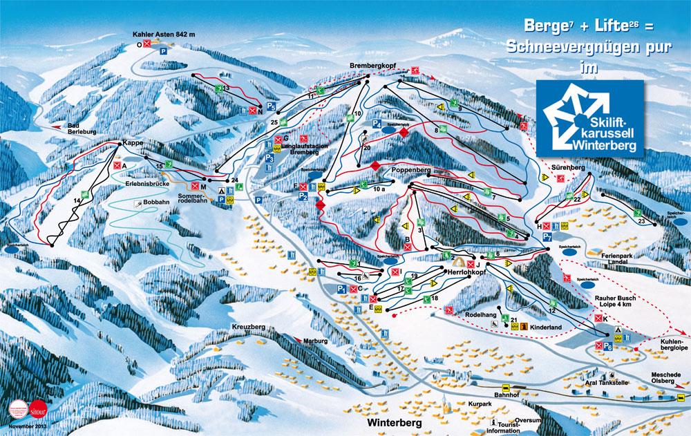 Wintersport Winterberg, kaart