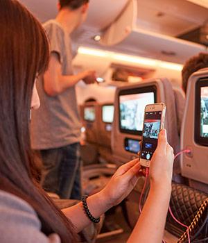 Vliegen met Emirates: wifi