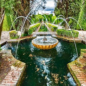 Alhambra in Granada: tuinen