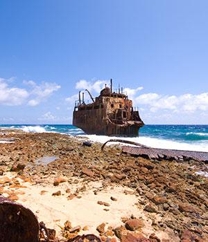 Dagtocht Klein Curaçao, scheepswrak