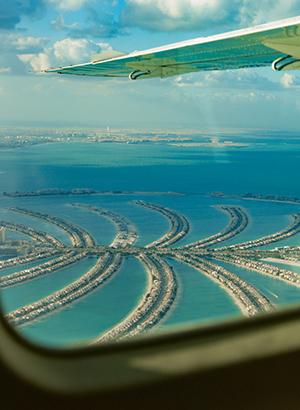 Dubai vanuit de lucht: watervliegtuig