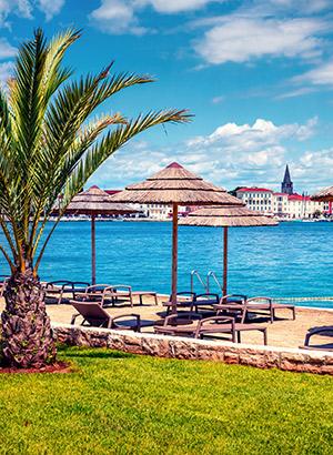Strand in Porec, Kroatië