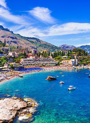 Strand van Taormina, Sicilië