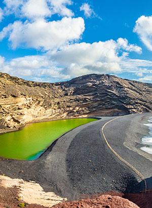 Bezienswaardigheden Lanzarote: El Golfo & Lago Verde